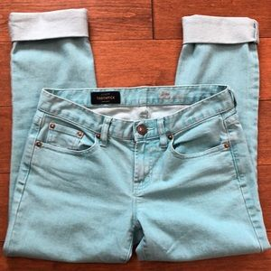 J. Crew Turquoise Toothpick 28 Ankle Jeans